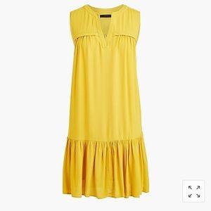 J crew ruffle Hem dress Yellow sz small ~$ 130